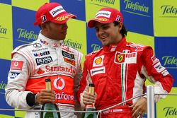Podium: Lewis Hamilton and Felipe Massa
