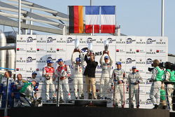 LMP1 podium: class and overall winners Pedro Lamy and Stéphane Sarrazin, second place Alexandre Prémat and Mike Rockenfeller, third place Christophe Tinseau and Harold Primat