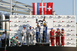 LMP2 podium: class winners Casper Elgaard and John Nielsen, second place Jos Verstappen and Peter Va
