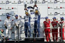 LMP2 podium: class winners Casper Elgaard and John Nielsen, second place Jos Verstappen and Peter Va