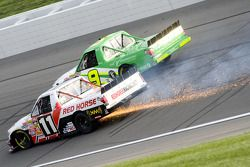 David Starr goes into Turn 1 as his truck suffers damage