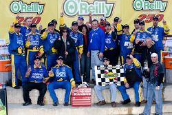 Victory lane: race winner Ron Hornaday celebrates