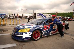 The #57 Stevenson Motorsports Pontiac GXP.R enroute to technical inspection