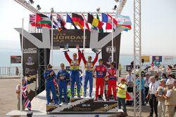 Podium: rally winners Mikko Hirvonen and Jarmo Lehtinen, second place Daniel Sordo and Marc Marti, t
