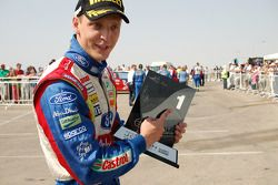 Rally winner Mikko Hirvonen celebrates