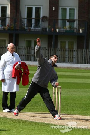 Neel Jani, driver of A1 Team Switzerland at the Kent County Cricket ground