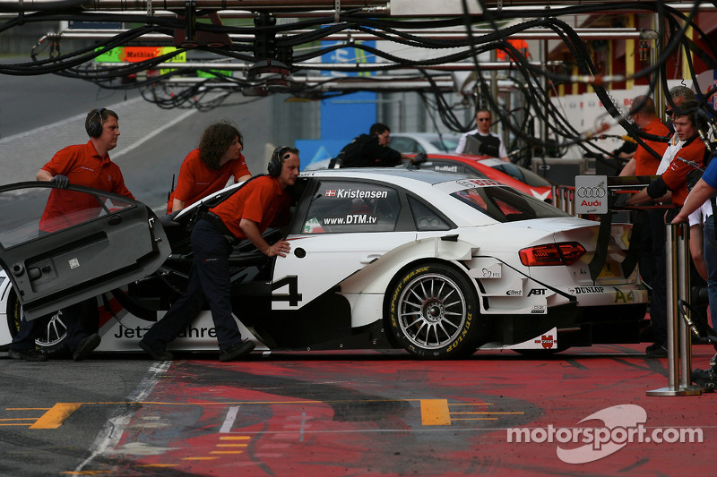 Tom Kristensen, Audi Sport Team Abt Audi A4 DTM 2008 pushed back to garage