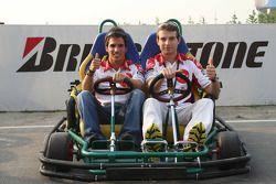 Pramac d'Antin go-kart event: Toni Elias and Sylvain Guintoli