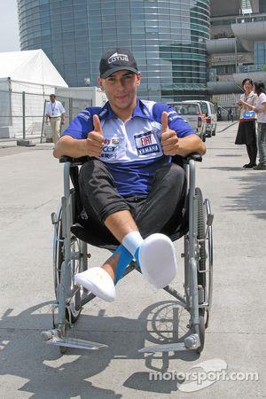 Jorge Lorenzo in a wheelchair