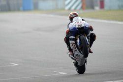 Jorge Lorenzo celebrates fourth place finish