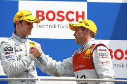 Podium: race winner Jamie Green with Tom Kristensen