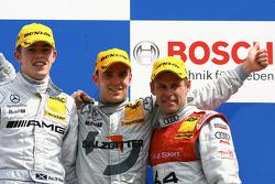 Podium: race winner Jamie Green with Paul di Resta and Tom Kristensen