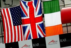 Podium: the winning flags