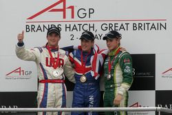 Podium: race winner Robbie Kerr with Jonathan Summerton and Adam Carroll
