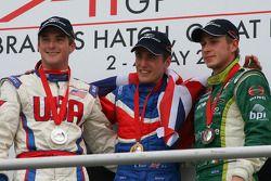 Podium: race winner Robbie Kerr with Jonathan Summerton and Adam Carroll