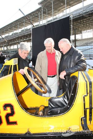 Rick Mears, A.J. Foyt and Al Unser Sr. with the Marmon Wasp