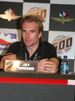 Jay Howard of Roth Racing talks with the media at the end of day press conference