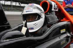 Former Indianapolis Colts player, Billy Brooks, prepares to take a ride in the two-seater