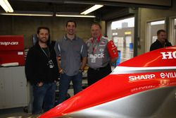 Jason Priestley and Jim Freundenberg, co-owners of Rubicon Race Team, pose with their driver Max Pap