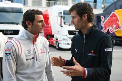Pedro de la Rosa, Test Driver, McLaren Mercedes and Mark Webber, Red Bull Racing