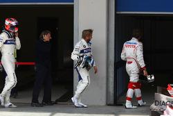 Robert Kubica, BMW Sauber F1 Team with Nick Heidfeld, BMW Sauber F1 Team y Jarno Trulli, Toyota Raci