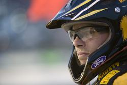 A Matt Kenseth's crew member watches the Dodge Challenger 500