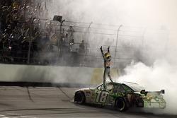 Race winner Kyle Busch celebrates