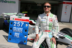 Rubens Barrichello, Honda Racing F1 Team, celebrating 257 Grand Prix