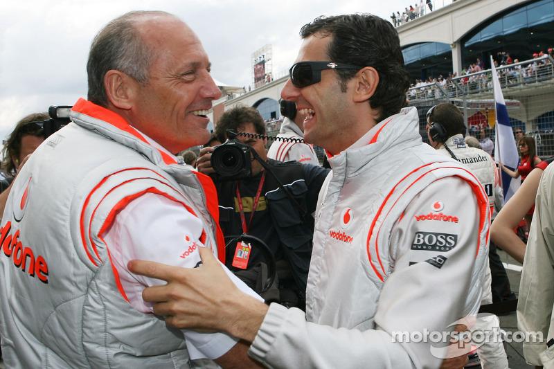 Ron Dennis, McLaren, Team Principal, Chairman with Pedro de la Rosa, Test Driver, McLaren Mercedes