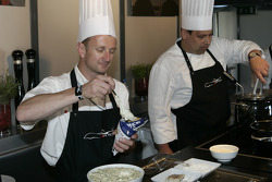 Allan McNish cooks for the media