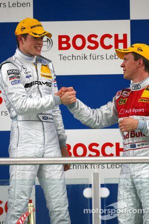 Podium: race winner Paul di Resta with Mattias Ekström