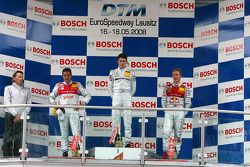 Podium: race winner Paul di Resta with Timo Scheider and Mattias Ekström