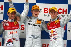 Podium: race winner Paul di Resta with Timo Scheider and Mattias Ekström