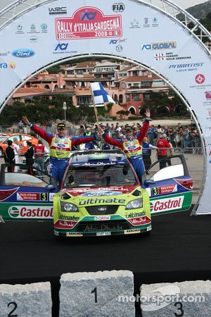 Podium: second place Mikko Hirvonen and Jarmo Lehtinen