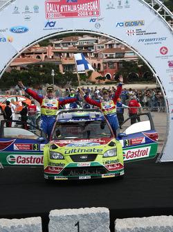 Podium: second place Mikko Hirvonen and Jarmo Lehtinen
