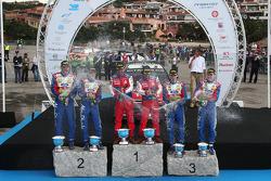 Podium: winners Sébastien Loeb and Daniel Elena, second place Mikko Hirvonen and Jarmo Lehtinen, thi