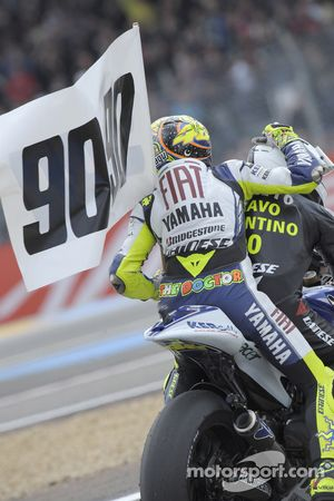 Valentino Rossi celebrates his 90th career victory and equals the record set by the great Angel Niet