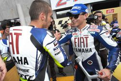 Race winner Valentino Rossi with Jorge Lorenzo