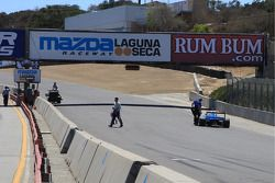Kevin Lacroix's car came about 20 feet short of crossing the finish line after runnign out of fuel