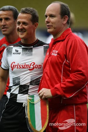 Michael Schumacher, Test Driver, Scuderia Ferrari with Prince Albert II of Monaco