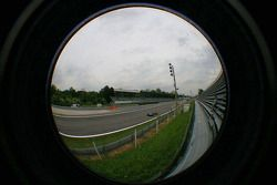 A fisheye lens view of the finish line