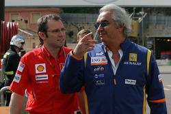 Stefano Domenicali, Scuderia Ferrari, Sporting Director and Flavio Briatore, Renault F1 Team, Team Chief, Managing Director
