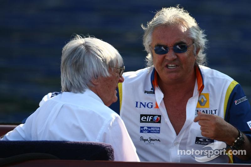 Bernie Ecclestone et Flavio Briatore, Renault F1 Team