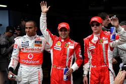 Lewis Hamilton, McLaren Mercedes with polesitter Felipe Massa, Scuderia Ferrari and Kimi Raikkonen,