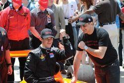 Dillon Battistini poses in victory lane