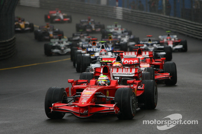 Start, Felipe Massa, Scuderia Ferrari, F2008 ve Lewis Hamilton, McLaren Mercedes, MP4-23