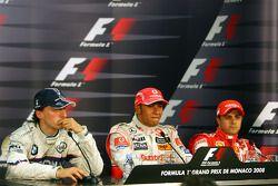 l-r, 2nd, Robert Kubica, BMW Sauber F1 Team, 1st, Lewis Hamilton, McLaren Mercedes and 3rd, Felipe