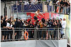Sebastian Vettel, Scuderia Toro Rosso, jumps off the Red Bull Energy Station into the harbour / port