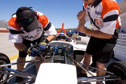 Crew works on Jonathan Summerton's car