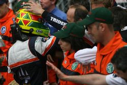 Race winner Mike Conway celebrates